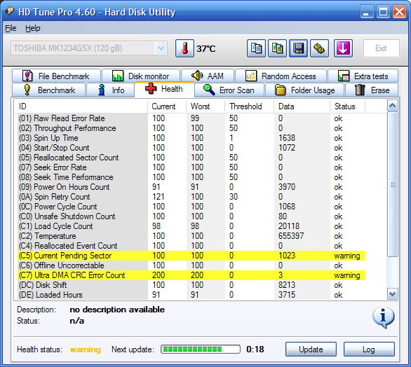 Testy HDD S.M.A.R.T. HDTune