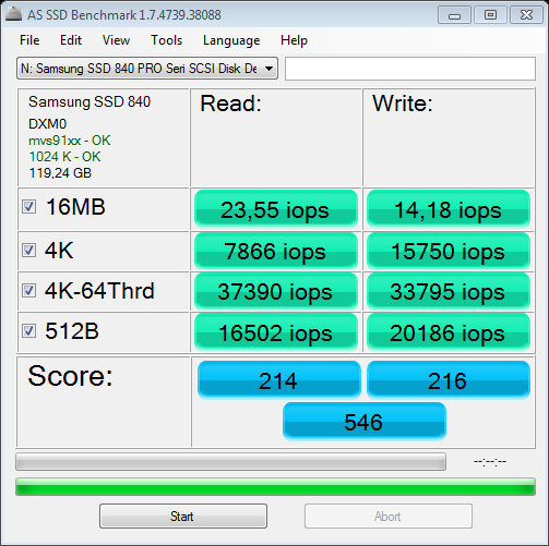 Nazwa:  AS SSD Benchmark 1.7 @Marvell 88SE9128 SATA 6Gbs iops.png,  obejrzany:  852 razy,  rozmiar:  37.8 KB.