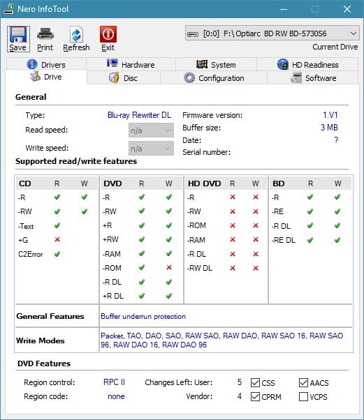 Optiarc BD-5730S-infotool.png