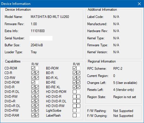Panasonic / Matshita UJ260-device-info.png