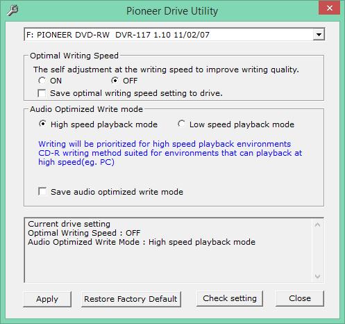 Audio Optimized Write  - Pioneer DVD Drive-2018-01-26_17-55-28.png