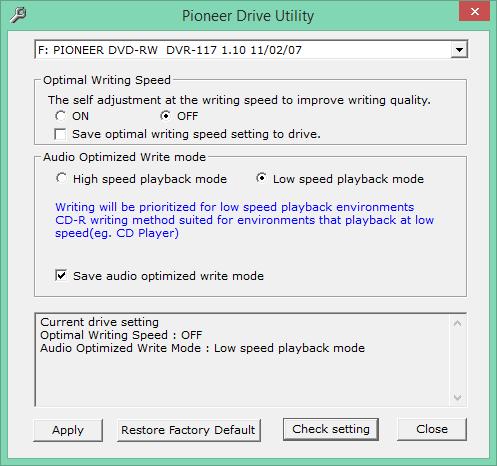 Audio Optimized Write  - Pioneer DVD Drive-2016-11-01_15-39-31.png