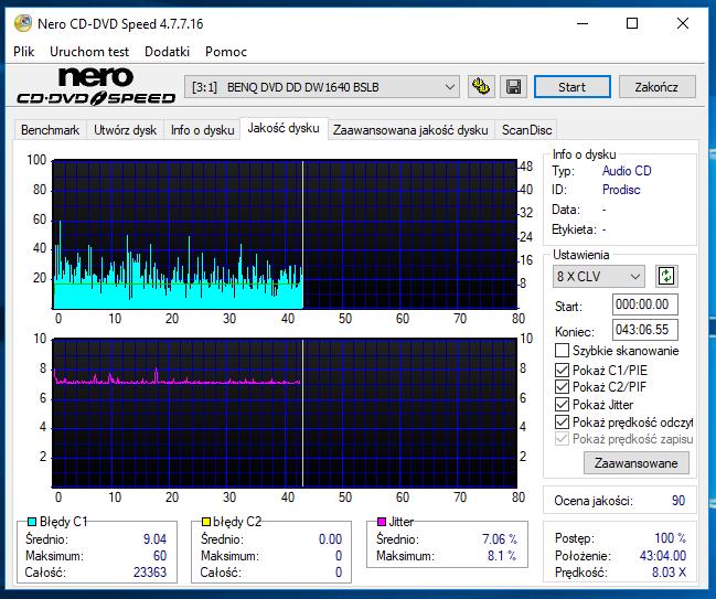 Nazwa:  10-09-2018 08,00 8x@PLEXTOR DVDR   PX-760A 1.07 scan2.PNG,  obejrzany:  52 razy,  rozmiar:  56.6 KB.