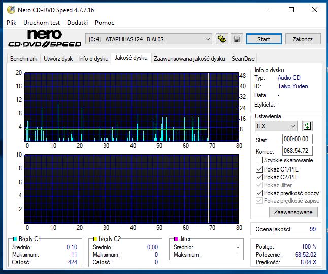 Nazwa:  10-09-2018 14,00 8x@PLEXTOR DVDR   PX-760A 1.07 scan1.PNG,  obejrzany:  50 razy,  rozmiar:  52.0 KB.