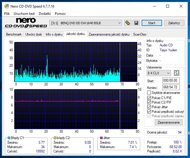 Nazwa:  10-09-2018 14,00 8x@PLEXTOR DVDR   PX-760A 1.07 scan2.PNG,  obejrzany:  49 razy,  rozmiar:  58.6 KB.
