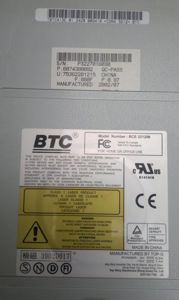 BTC BCE 3212IM TREIBER WINDOWS 10
