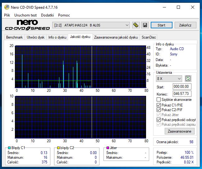 Nazwa:  10-02-2019 14,00 8x@PLEXTOR PX-760A 1.07 scan1.PNG,  obejrzany:  56 razy,  rozmiar:  63.4 KB.