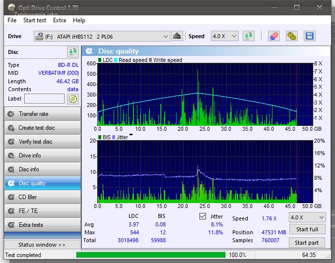 Verbatim BD-R DL 50GB x6 Printable MID: VERBATIMf-disc_quality_29-lipca-2021.png