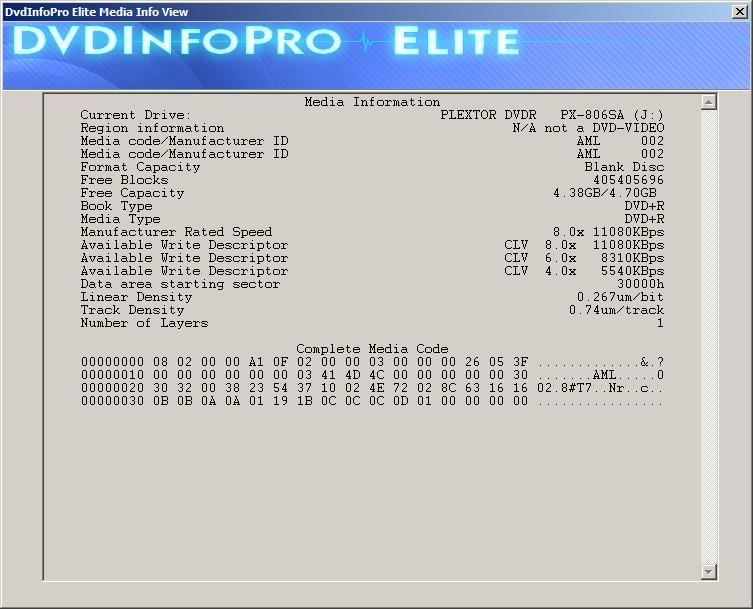 Kodak DVD+R 4,7 GB x8 MID: AML-002-00-dvdinfopro-elite-media-info-view.png