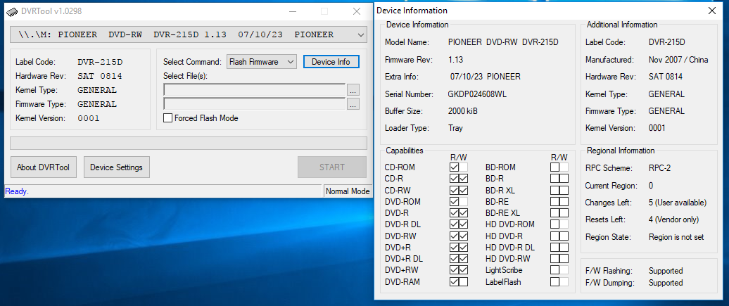 DVRTool v1.0 - firmware flashing utility for Pioneer DVR/BDR drives-przechwytywanie01.png