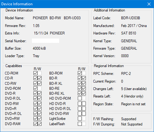 DVRTool v1.0 - firmware flashing utility for Pioneer DVR/BDR drives-device-info.png