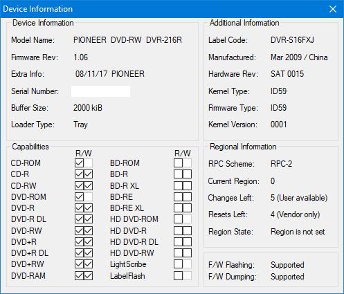 DVRTool v1.0 - firmware flashing utility for Pioneer DVR/BDR drives-device-info.png